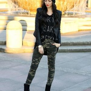 Zara camo Mid Rise skinny jeans
